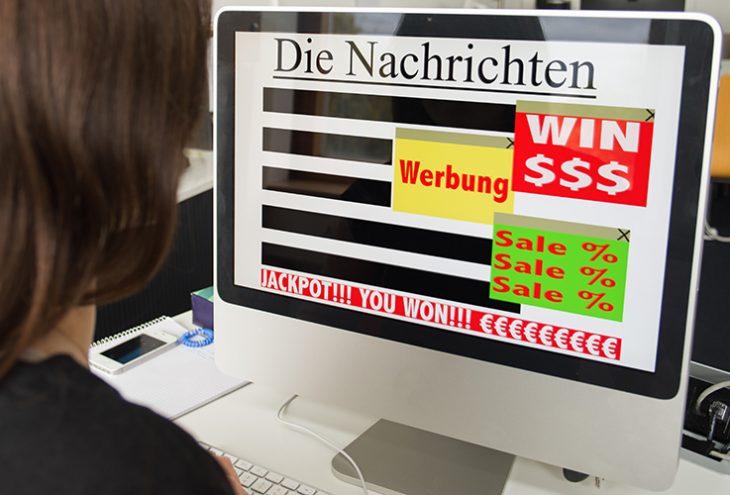 Oft verdecken aufdringliche Werbeanzeigen den Inhalt von Internetseiten. // Foto: Felix Kemper