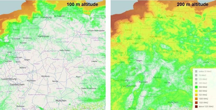 Windatlas: Gute Windstandorte in Deutschland bei 100 und 200 Metern