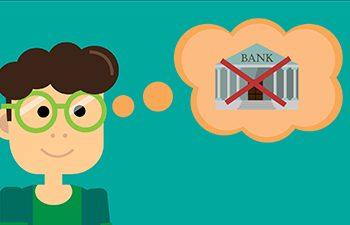 Figur mit Denkblase, in der eine rot durchgestrichene Bank zu sehen ist