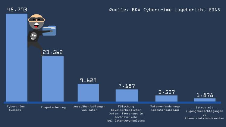 Cyberkriminialität in Zahlen: Zu Anzeige gebrachte Straftaten in 2015 Quelle:BKA//Grafik: Kikillus und Kreiten