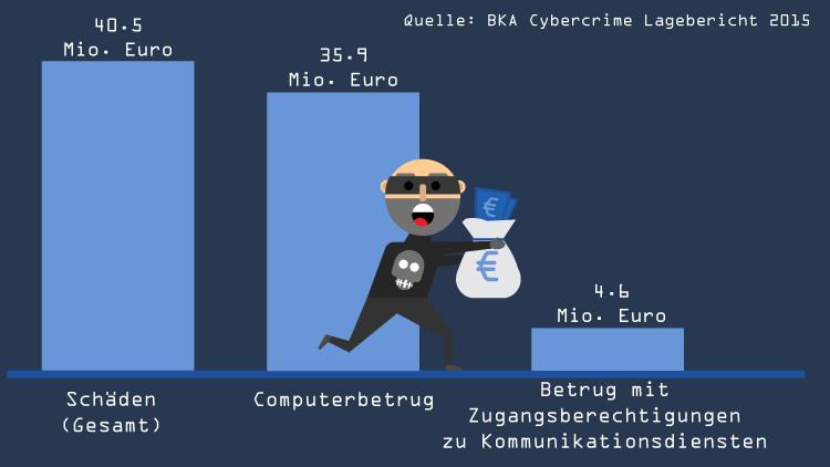 Cyberkriminialität in Zahlen: Schaden der Straftaten in 2015, Quelle:BKA//Grafik: Kikillus und Kreiten