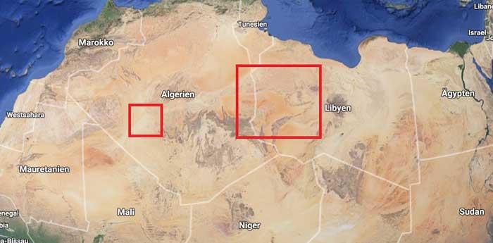 Die roten Quadrate stellen die zu bespiegelnden Fläche an, um den weltweiten Energiebedarf zu decken. Links die ursprünglich berechnete Fläche, Rechts die nach heutigem Fortschritt tatsächlich benötigte Fläche (Quelle:Google-Earth)// Foto: Tobias Sluzalek