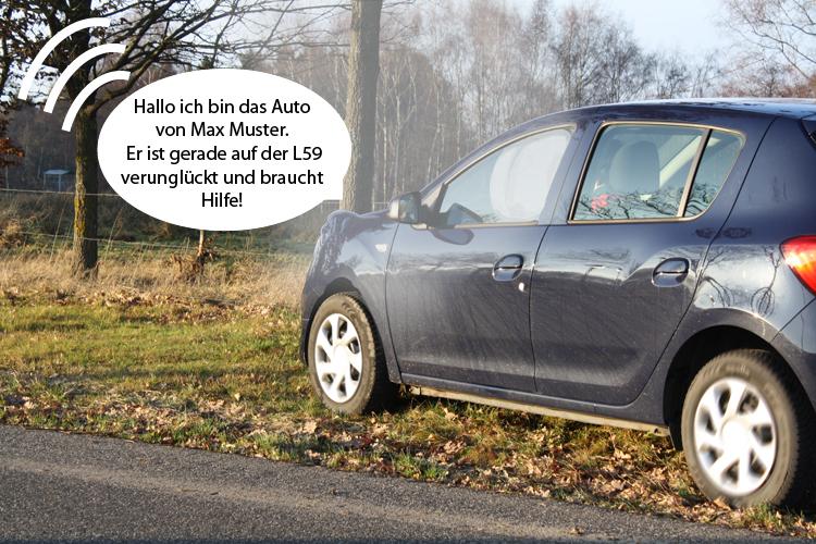 verunfalltes Auto, das um Hilfe ruft