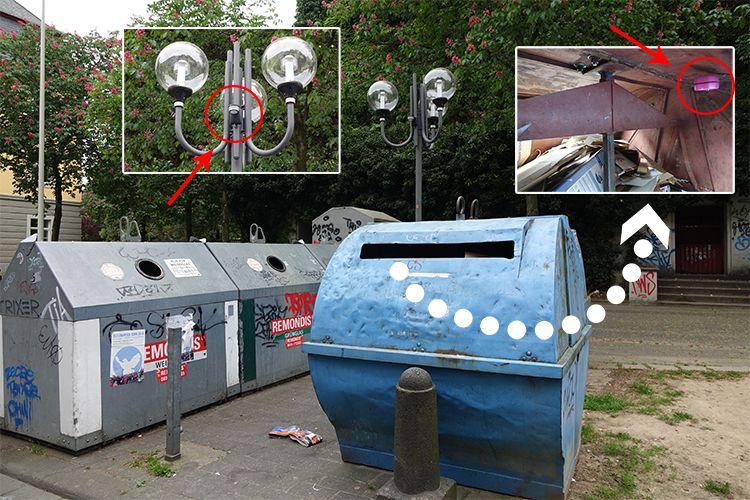 Straßenlaternen und Müllcontainer an der Münsterplatzgarage in der Smart City Bonn