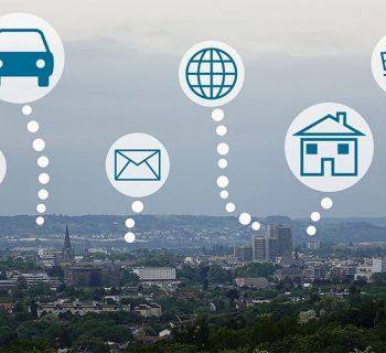 Übersichtsbild von Bonn mit den Symbolen Abfallwirtschaft, Auto, Brief, Internet, Haus und Einkaufswagen