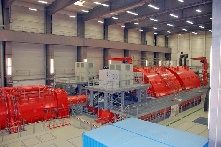 Der Generator und die Turbine des Kernkraftwerks Biblis. //Quelle: RWE