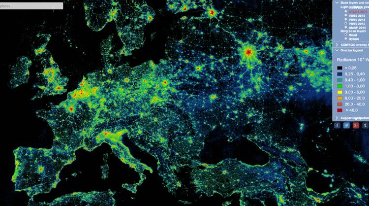 Lichtverschmutzung Karte Europa.Wo Sind Unsere Sterne Hin Lichtverschmutzung Technikjournal