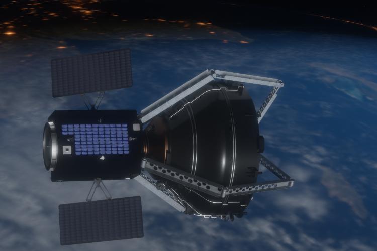 ClearSpace-1 soll Schrott einsammeln und diesen in die Erdatmosphäre fliegen, damit er verbrennen kann. Quelle: École Polytechnique Fédérale de Lausanne/J. Caillet