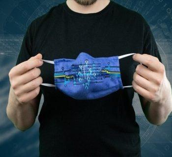 Das Bild sollte technisch wirken mit dem Bezug einer Maske.