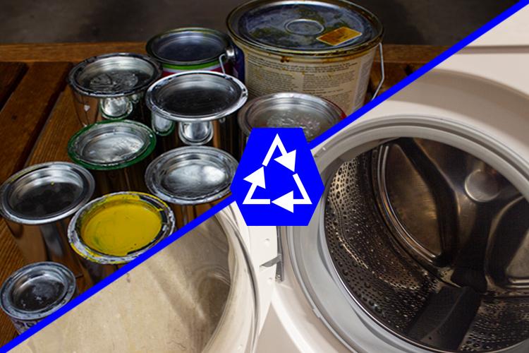Recycling von alten Farbdosen für eine Waschmaschinentrommel