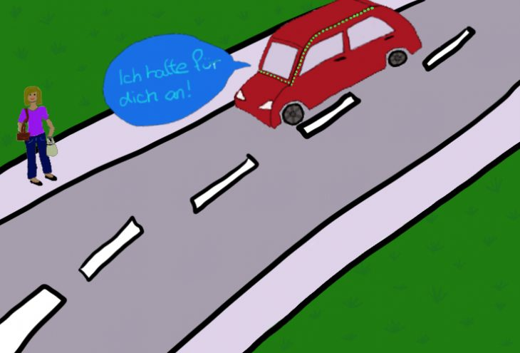 Person, die die Straße überqueren möchte, empfängt über Lichtsignale die Nachricht, dass das Auto anhalten wird.