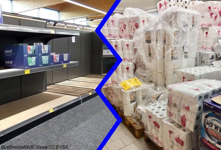 Leere Supermarktregale vs. Regale voller Toilettenpapier