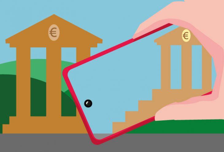 Vergleich einer physischen Bankfiliale mit dem Online Banking,