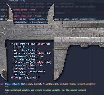 Computercode mit Messschieber