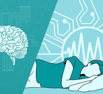 Links im Bild ist ein Gehirn und rechts im Bild ist ein schlafende Person