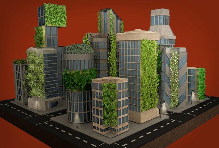 Stadt mit Fassadenbegrünung